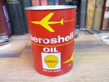 SHELL OIL CAN CO AEROSHELL AIRCRAFT MOTOR quart METAL paper VINTAGEORIGINAL 1980