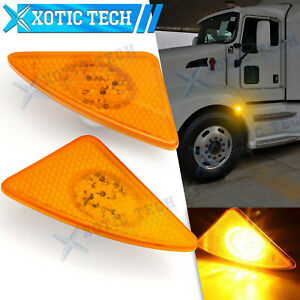 For Kenworth T660 T170 T270 2008-2021 Amber LED Side Marker Turn Signal Lights