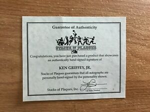 1991 Ken Griffey Jr authenticated Signed 8x10 And 4 Cards Mounted On Plaque