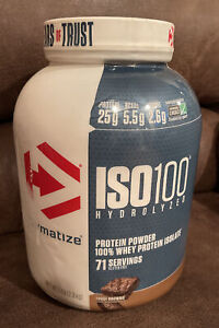 "ISO100 Hydrolyzed Protein Powder By Dymatize, Fudge Brownie Flavor, 5 Lb ""READ"""