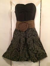 Cute! NEW! NOTICE Corset Dress w Green Wool Brocade Bubble Skirt Size 4 Made USA