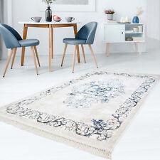 Teppich Flachflor Polyester Waschbar Klassisch Ornamente Blau mit Kettfäden