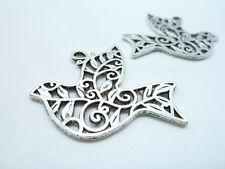 Wholesale Women's 10pcs 29x36mm Antique Silver Filigree Dove Bird Charm Pendant