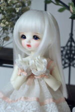 "7-8"" 1/4 BJD Pure White Cute Straight Bangs Long Wig LUTS Doll SD DZ DOD MSD"