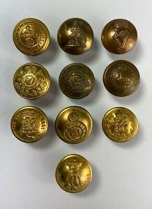 Assorted Vintage Brass Regimental Buttons x 10  VM578