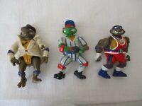 Vintage 1990's Teenage Mutant Ninja Turtles, Three Action Figures