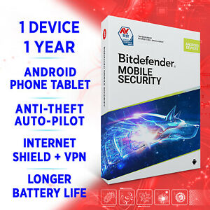 Bitdefender Mobile Security ANDROID + VPN 1 device 1 year 2021 full edition