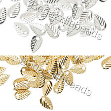 Lot of 50 Thin Little 7mm Double Sided Leaf Drop Charms Plated Brass Base Metal