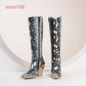Womens Western Knee High Boots Block Heel Cowboy Winter Zip Shoes Snakeskin Lady
