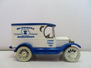 ERTL 1923 CHEVROLET DELIVERY VAN DIE CAST CAR/BANK BI COUNTY AMBULANCE