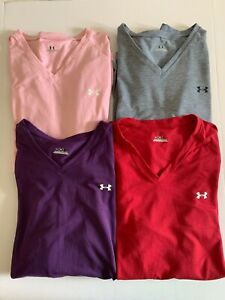 (4) Women's Under Armour Shirts L Large V Neck Polyester Long Sleeve