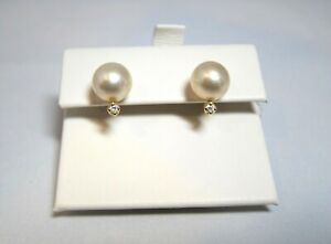 Yvel 18k Yellow Gold South Sea Cream Pearl Diamond Earring *NEW!* E-1-DROP