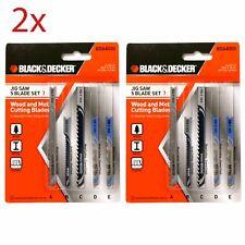 2x Black & Decker BDA4000 Jigsaw 5 Blade Set Wood & Metal Cutting Blades