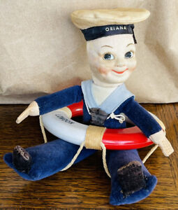 """Vintage S.S Oriana Sailor 7"""" Cloth Doll by Norah Wellings England & Lifebuoy"""