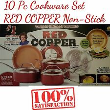 10 Pc Cookware Set RED COPPER Ceramic Non-Stick Cooking POTS and PANS With Lid