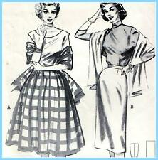 """EASY Vintage 50s FULL & SLIM SKIRT & STOLE Sewing Pattern W 28"""" RETRO Evening"""