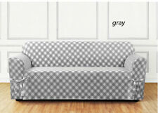 NEW Buffalo Check One Piece Sofa size Slipcover  gray