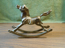 """Vintage Collectible Heavy Solid Brass 7 3/8"""" Rocking Horse Pony Statue Figurine"""