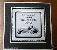 Handmade Personalised Birthday Card Racing Car Brother Son Father Uncle ANY AGE