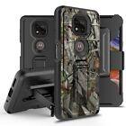 For Motorola Moto G Power 2021 Card Slot Holster Case w/ Temper Glass Kickstand