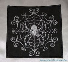 Embroidered Retro Silver & Black Gothic Spider In Web Patch Iron On Sew On USA