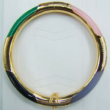 Multicolor Green Black Pink Purple Jade Yellow Gold Plated Clasp Bangle Bracelet
