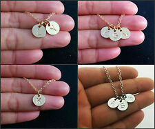 Letter Stamped Charm Pendant Necklace Initial Monogram Personalised Necklace