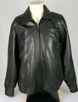 Members Only Mens Size L Black Leather Elastic Waist Zip Up Motorcycle Jacket