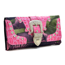 Western Camouflage Trifold Rhinestone Buckle Wallet
