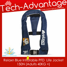 Adults Boat Blue Adjust Inflatable MANUAL Lifejacket Whistle PFD (Suits 40KG+)