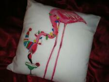 RED & WHITE CUSTOM LINEN CHRISTMAS HAT,LIGHTS TROPICAL PINK FLAMINGO PILLOW