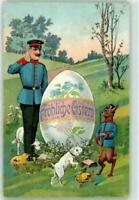 Dressed Rabbit in Military Uniform with Soldier~Egg~Antique~Easter Postcard-p679