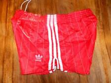 Vintage W. German Shiny Nylon Red & White 1980s Adidas Sprinter Shorts D5 sh209