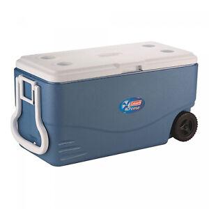 Heavy Duty Cooler 100 Quart Blue Plastic Rolling Wheels Leak Resistant Camping