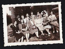 Antique Photograph Large Group of Women in Cool Outfits Sitting in Yard