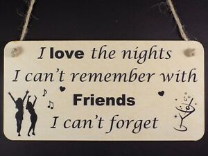 """"""" I Love The Nights I Can't Remember """" Wooden Plaque Sign Friendship Friend Gift"""