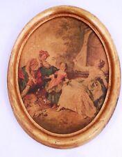 Mid Century Italian Florentine Antiqued Picture Music Lesson w/ Gilt Gold Frame