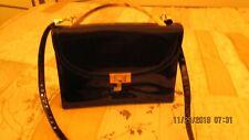 Koret Vintage Black Patent Leather Purse Hand Bag Brass Snap Close Metal Handle