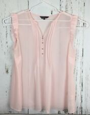 Billie and Blossom Dorothy Perkins pink sheer blouse. Ruffle sleeve 1/2 button