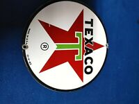 """Original Early Texaco Gasoline & Oil Station Porcelain 8"""" Sign dated"""