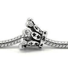 50 European Antik Silber Strass Krone Charm Perlen Beads 14mm B20684