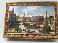 "1984 E Otto Schmidt Nurnberg Market Red Ornate Cookie Tin Box 16""x12""x7"""