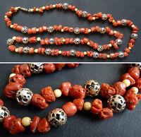 Ancien collier en perles de corail  bijou coral necklace