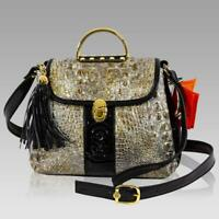 Marino Orlandi Designer Gold Rush Alligator Embossed Leather Top Handle Purse