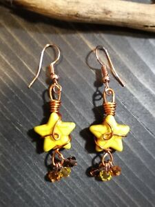 UNIQUE YELLOW HOWLITE STAR/COLORFUL CRYSTAL DANGLES/COPPER WIRE WRAP EARRINGS