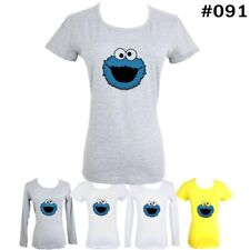 Cute Funny Blue Cookie Monster Design Ladies Girls Long short sleeve T-Shirt Tee