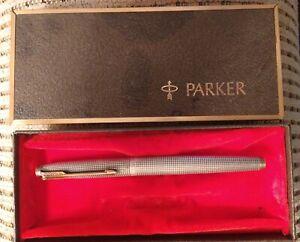 Parker 75  DishTop Sterling Silver fountain pen -  Fine 14k Gold nib -USA