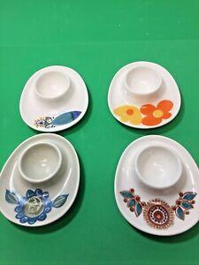 4 Vintage 70's Figgjo Flint Assorted Designs Egg Cup Norway Scandinavian