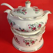 """SOUP TUREEN WARMER LADLE & LID PINK ROSES GOLD TRIM 9"""" VINTAGE COLLECTIBLE"""