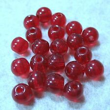 Czech Pressed Glass Bright Ruby Red 8mm Round Druk 25 Beads 2mm Large Hole